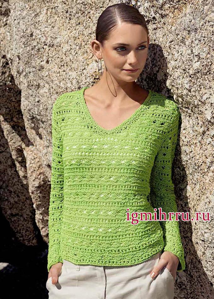 Светло-зеленый летний пуловер со структурным ажурным узором, от Lana Grossa. Вязание спицами