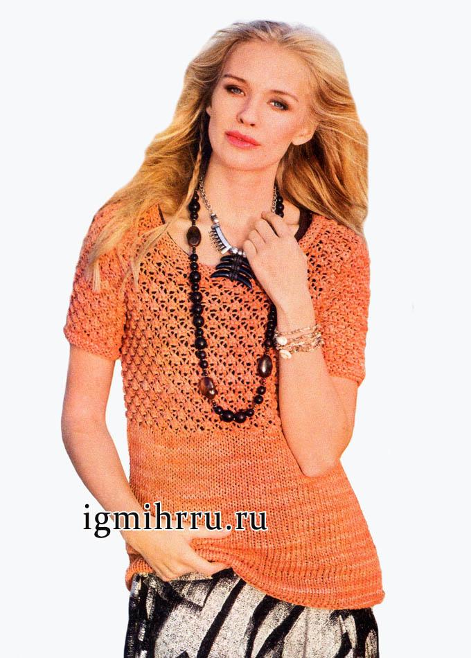 Оранжевый летний пуловер с широкой кокеткой и рукавами, выполненными узором розочки. Вязание спицами
