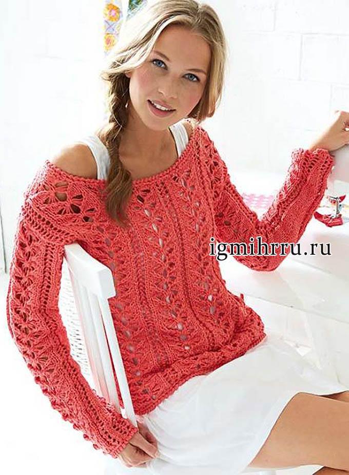 Яркий ажурный пуловер цвета камелии. Вязание спицами