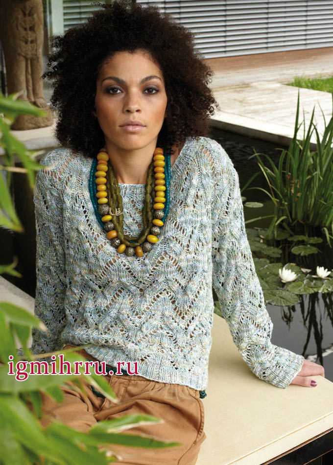 Ажурный меланжевый пуловер из хлопчатобумажной пряжи. Вязание спицами