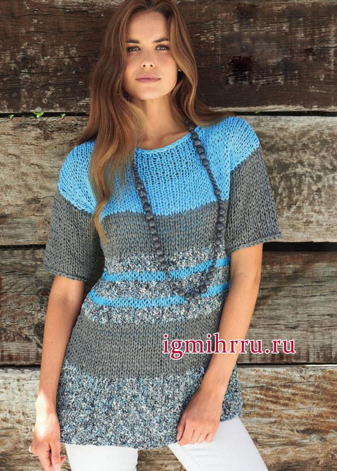 Просто и удобно! Летний полосатый пуловер из хлопковой пряжи. Вязание спицами