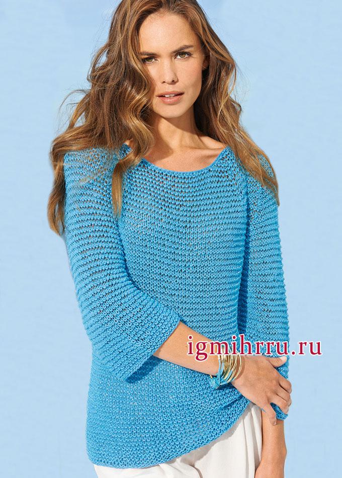 Летний пуловер-реглан в бирюзово-синих тонах, от Lana Grossa. Вязание спицами