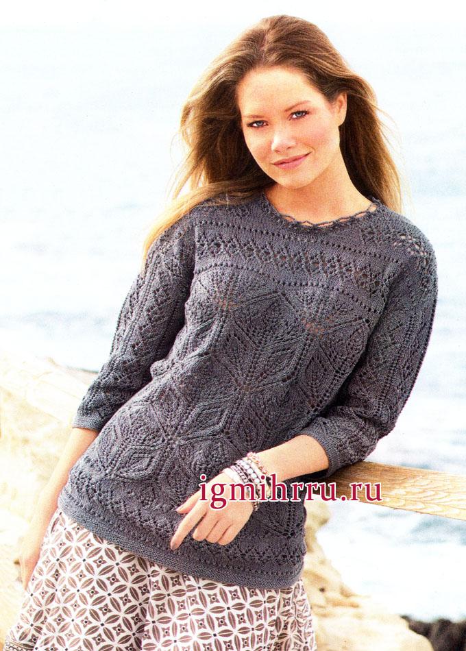 Серо-коричневый ажурный пуловер из хлопковой пряжи. Вязание спицами