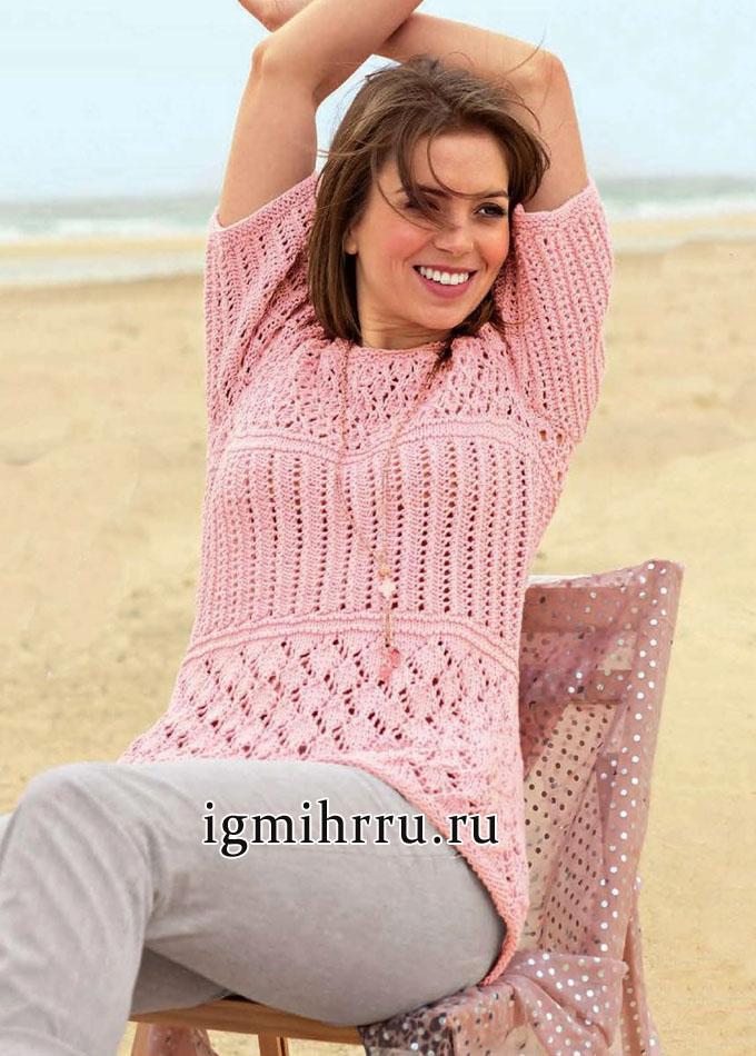 Летний розовый пуловер с выразительными ажурными узорами. Вязание спицами