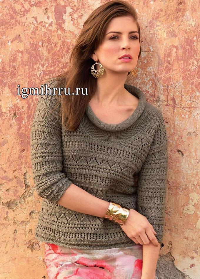 Ажурный пуловер цвета хаки, с широким воротником, от Lana Grossa. Вязание спицами