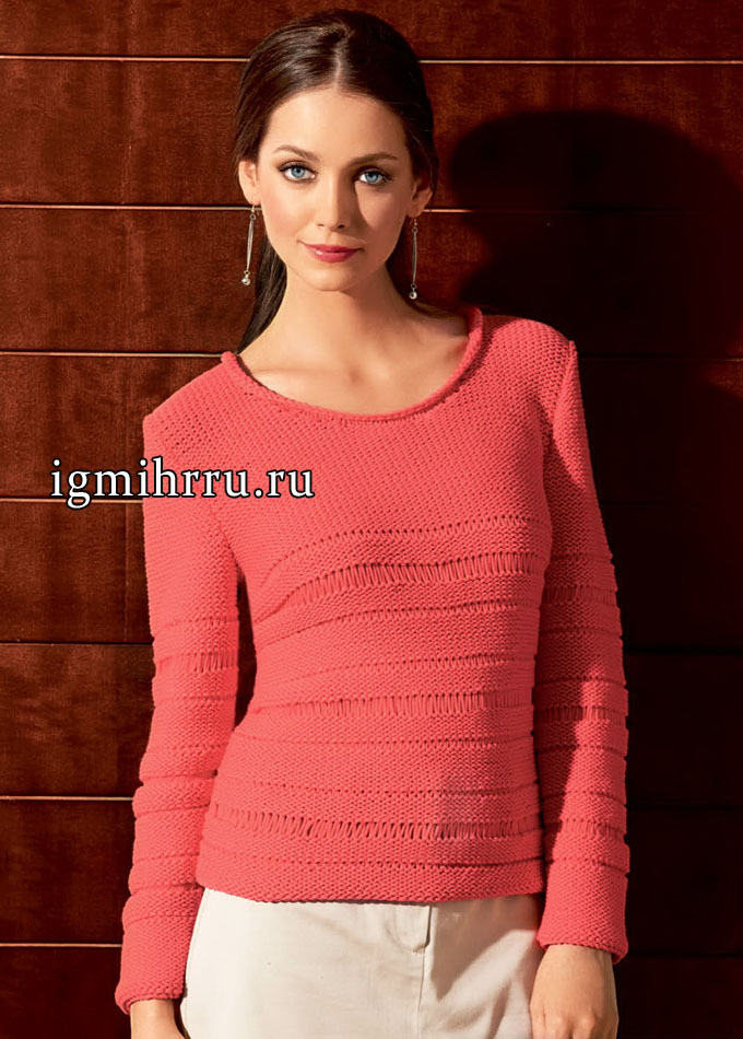 На каждый день! Легкий красный пуловер со спущенными петлями, от Lana Grossa. Вязание спицами
