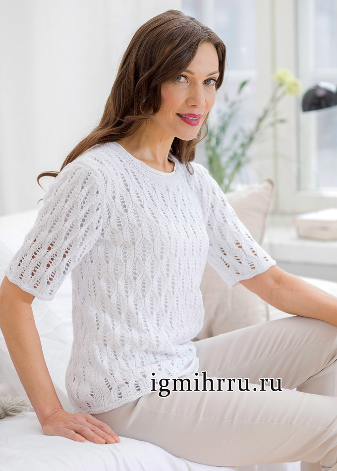 Летний белый пуловер с ажурным узором, от финских дизайнеров. Вязание спицами