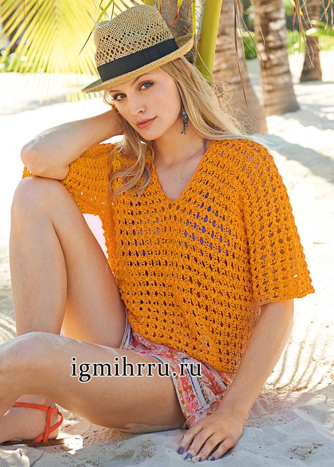 Летний ажурный пуловер оранжевого цвета, связанный поперек единым полотном. Вязание спицами