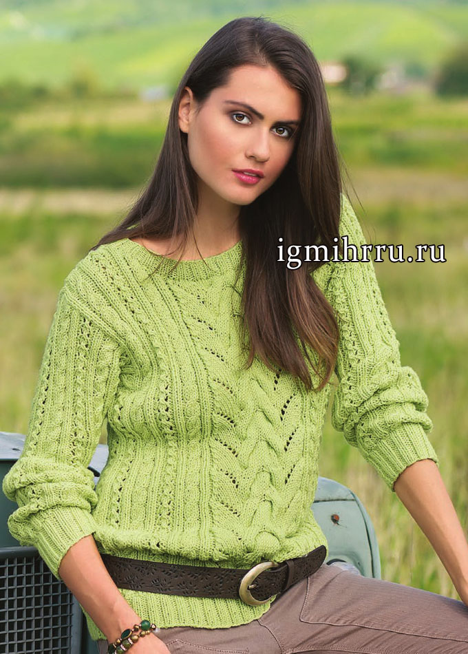 Пуловер лимонно-зеленого цвета с узорами из кос. Вязание спицами