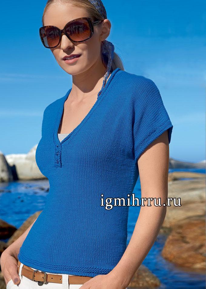 Просто и удобно! Голубой пуловер-кимоно из мягкого хлопка, от немецких дизайнеров. Вязание спицами