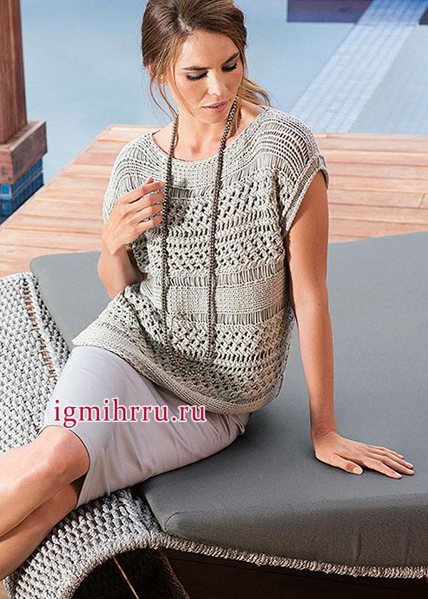 Городской стиль! Серый узорчатый пуловер, связанный в поперечном направлении, от немецких дизайнеров. Вязание спицами