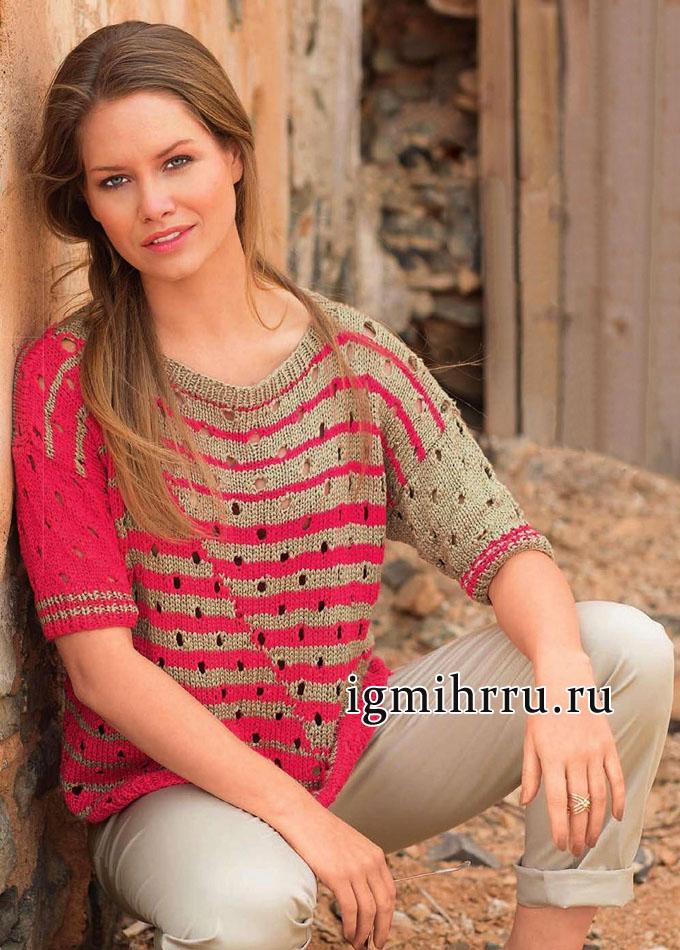 Свободный полосатый пуловер с дырочками. Вязание спицами