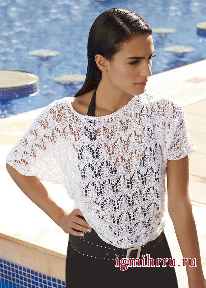 Белый пуловер-кимоно с нежным ажурным узором, от немецких дизайнеров. Вязание спицами