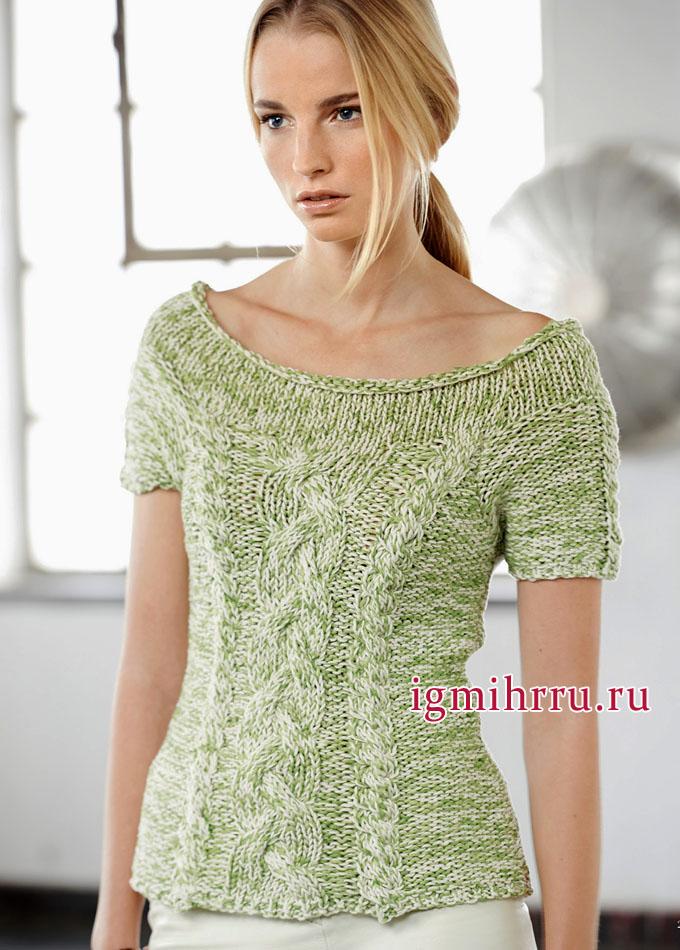 Светло-зеленый меланжевый пуловер с косами, от немецких дизайнеров. Вязание спицами