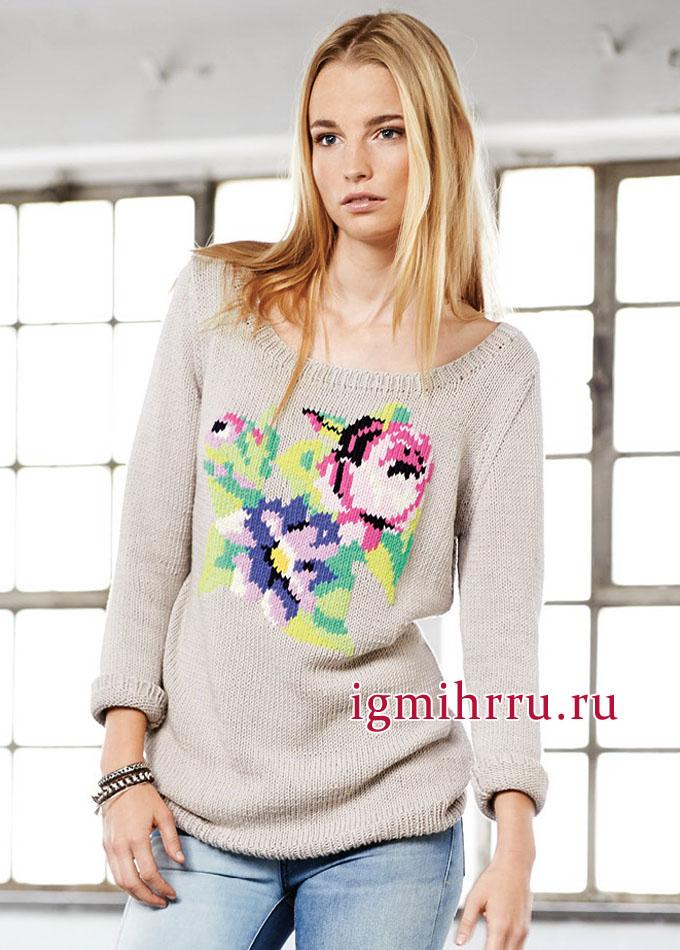 Светло-серый пуловер с романтической цветочной вышивкой, от немецких дизайнеров. Вязание спицами