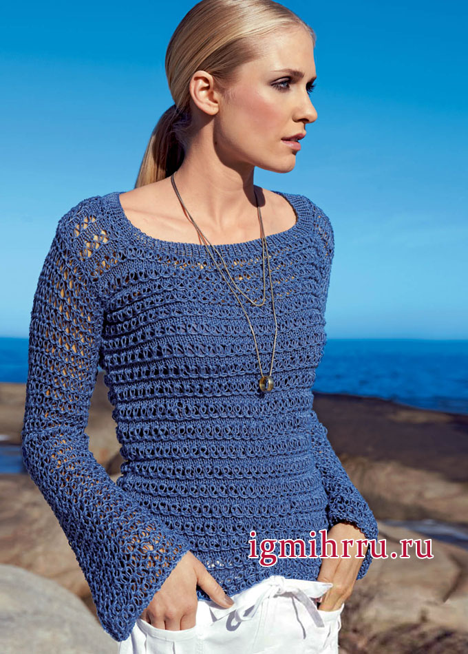 Женственная и элегантная классика. Синий пуловер с узором-сеткой, от немецких дизайнеров. Вязание спицами
