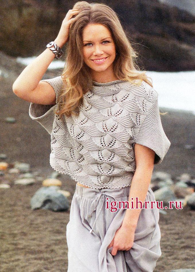 Серебристо-серый пуловер с ажурными узорами и цельновязаными рукавами, от немецких дизайнеров. Вязание спицами