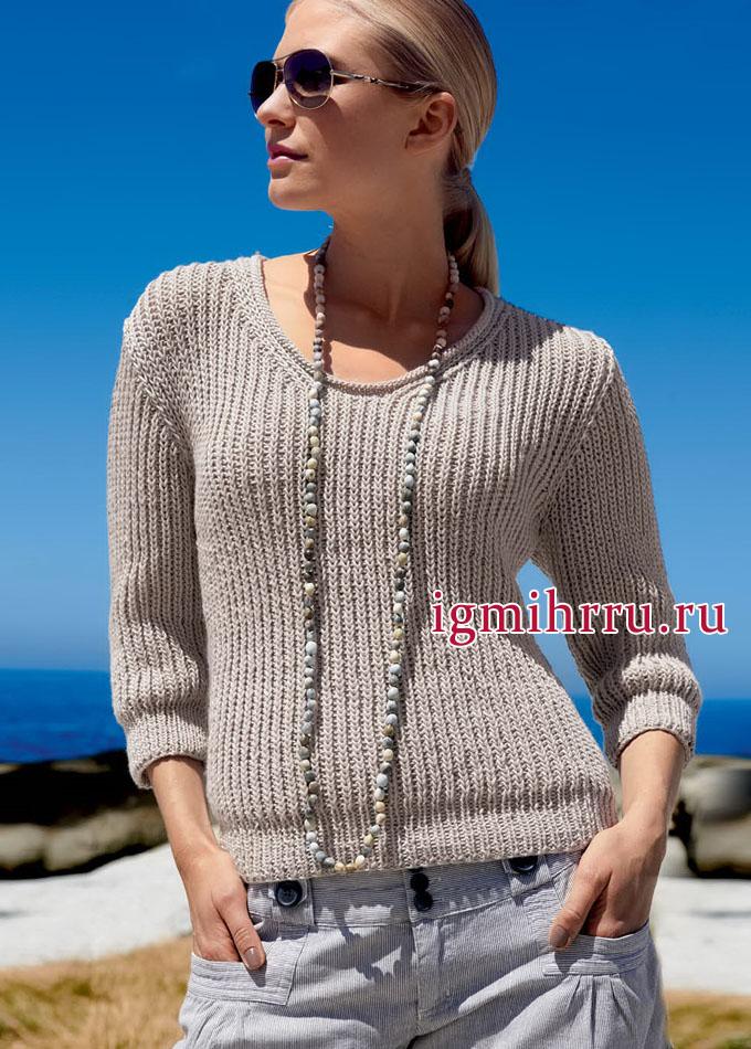 Для прохладных летних вечеров. Бежевый пуловер с полупатентным узором, от немецких дизайнеров. Вязание спицами