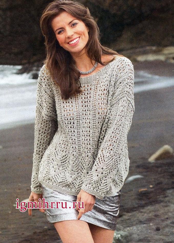 Светло-серый просторный пуловер с ажурными узорами, от немецких дизайнеров. Вязание спицами