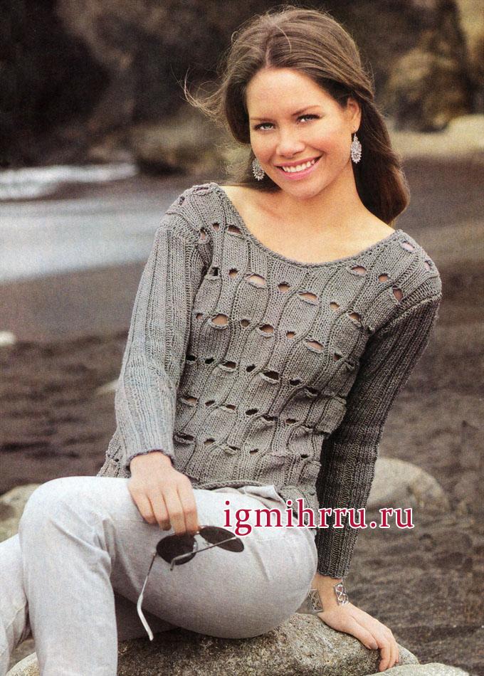 Серебристо-серый пуловер с ажурным узором, от немецких дизайнеров. Вязание спицами