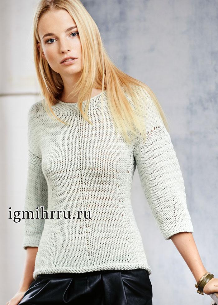 Повседневный лаконичный пуловер серо-зеленого цвета, от немецких дизайнеров. Вязание спицами