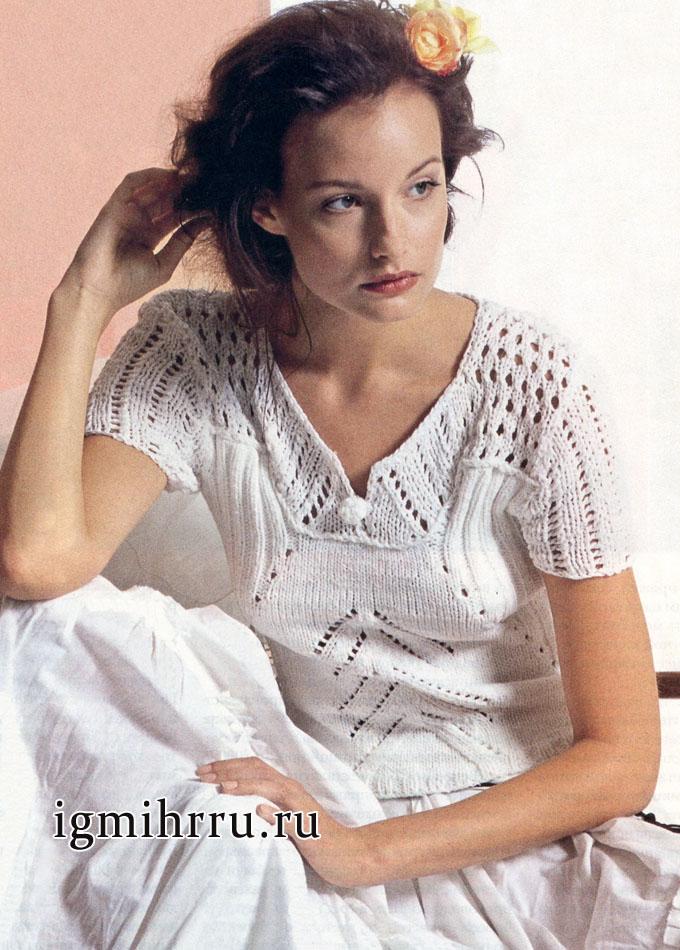 Белый джемпер с узорной кокеткой и короткими рукавами, от немецких дизайнеров. Вязание спицами