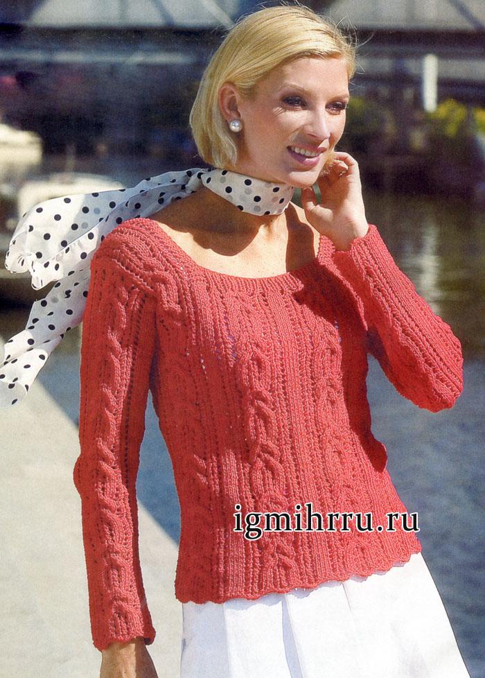 Красный пуловер с косами, от финских дизайнеров. Вязание спицами