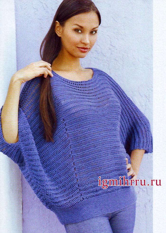 Широкий пуловер цвета джинс, от финских дизайнеров. Вязание спицами