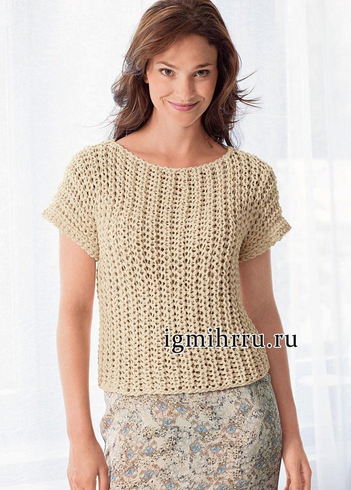 Светло-бежевый пуловер из фантазийной резинки, связанный единым полотном, от французских дизайнеров. Вязание спицами