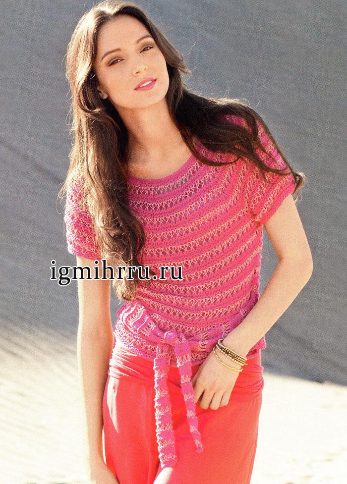 Ярко-розовый летний пуловер с круглой кокеткой, от немецких дизайнеров. Вязание спицами