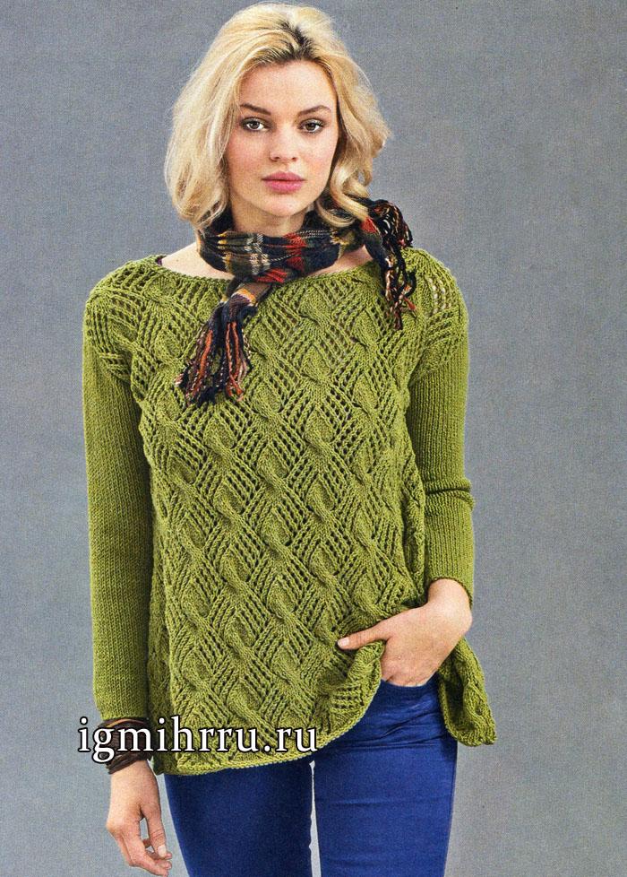 Пуловер цвета мха с А-силуэтом и выразительным ажурным узор с косами, от немецких дизайнеров. Вязание спицами