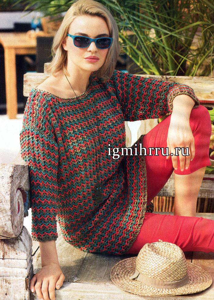 Удлиненный трехцветный пуловер с зубчатым орнаментом, от немецких дизайнеров. Вязание спицами