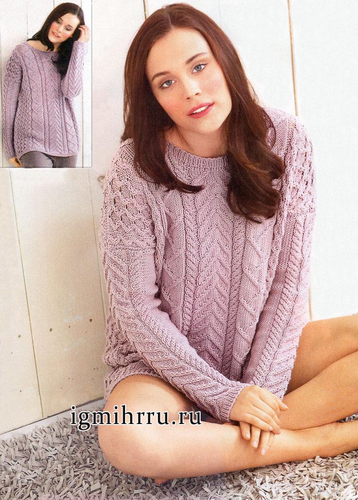 Микс выразительных узоров. Классический прямоугольный пуловер розового цвета, от немецких дизайнеров. Вязание спицами