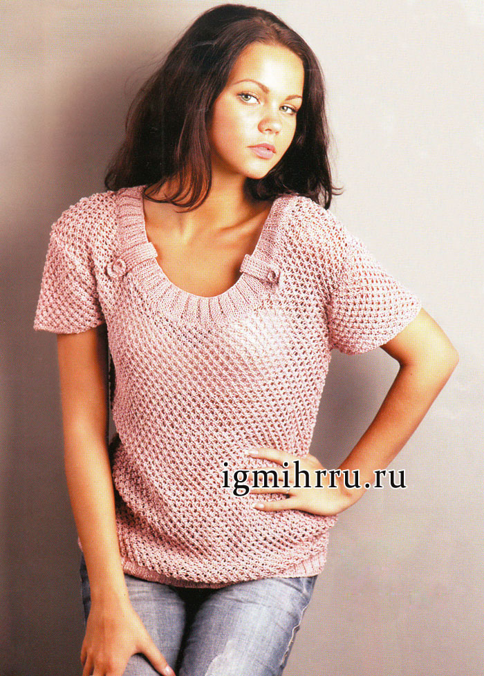 Летний пуловер Розовая дымка. Вязание спицами