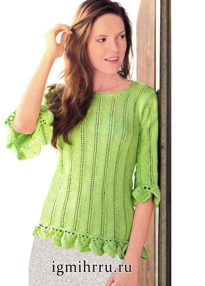 Зеленый пуловер с вертикальными полосками и ажурным кантом, от немецких дизайнеров. Вязание спицами и крючком