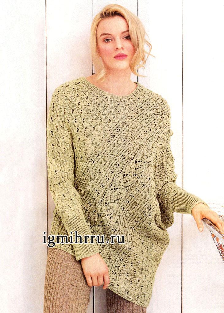 Оригинальное дизайнерское решение. Бежевый пуловер-пончо из рельефных узоров с шишечками, от немецких дизайнеров. Вязание спицами