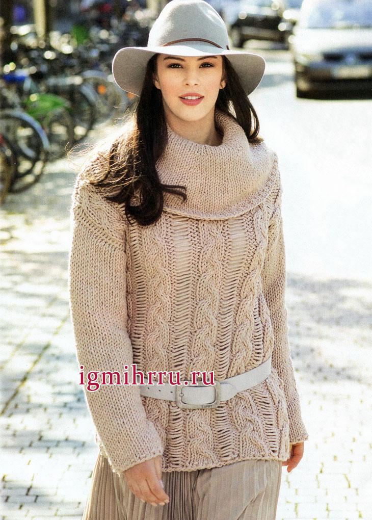 Бежевый пуловер с узором из спущенных петель и косами, от немецких дизайнеров. Вязание спицами