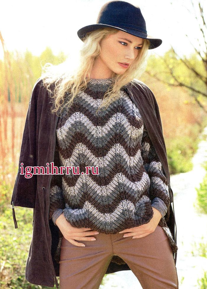 Для прохладных осенних дней. Пуловер с зубчатым узором, из мягкой пряжи альпака, от немецких дизайнеров. Вязание спицами