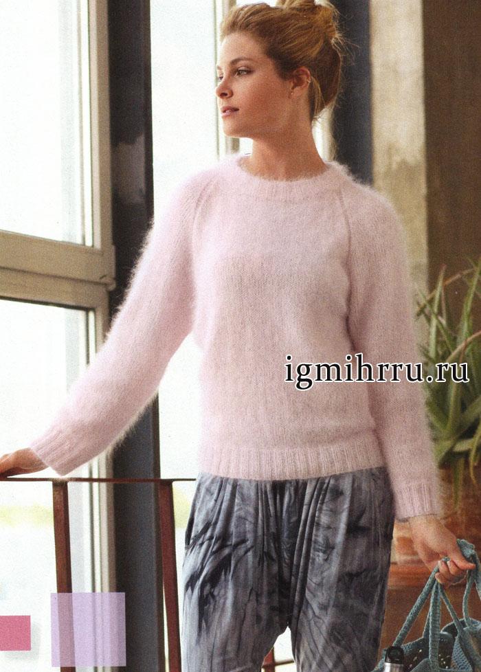 Мягкий и пушистый пуловер розового цвета из ангорской шерсти, от Verena. Вязание спицами