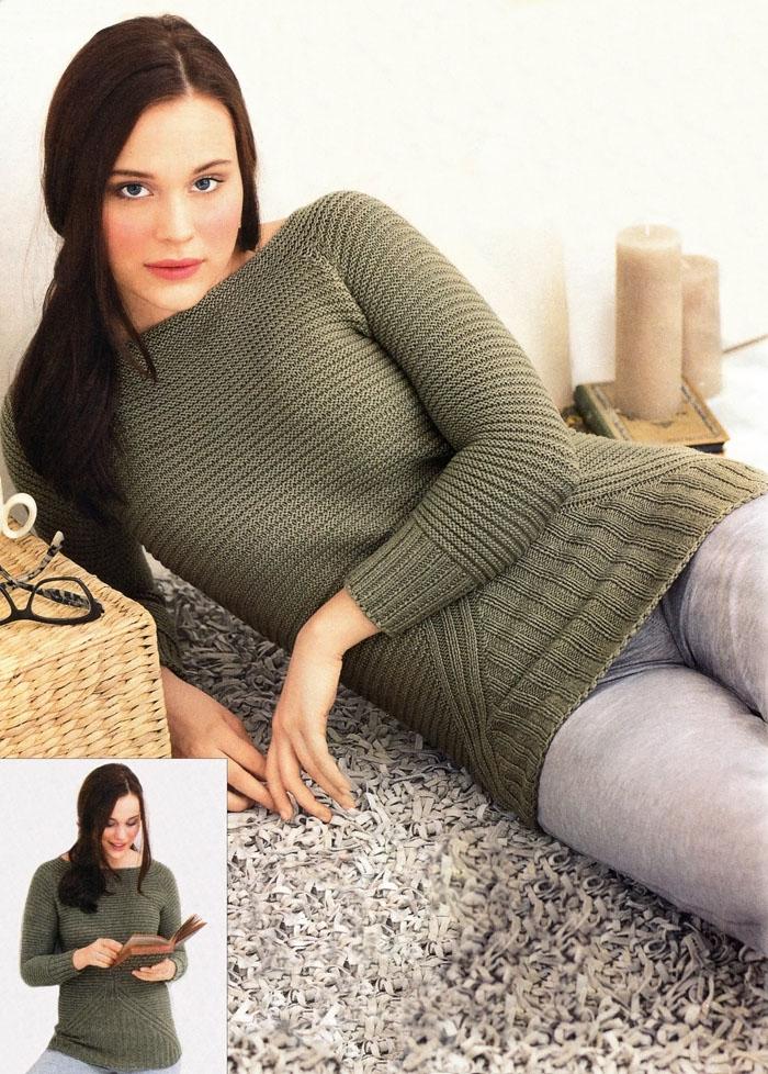Главное – комфорт! Пуловер-реглан оливкового цвета, связанный простой гладью и резинкой, от немецких дизайнеров. Вязание спицами