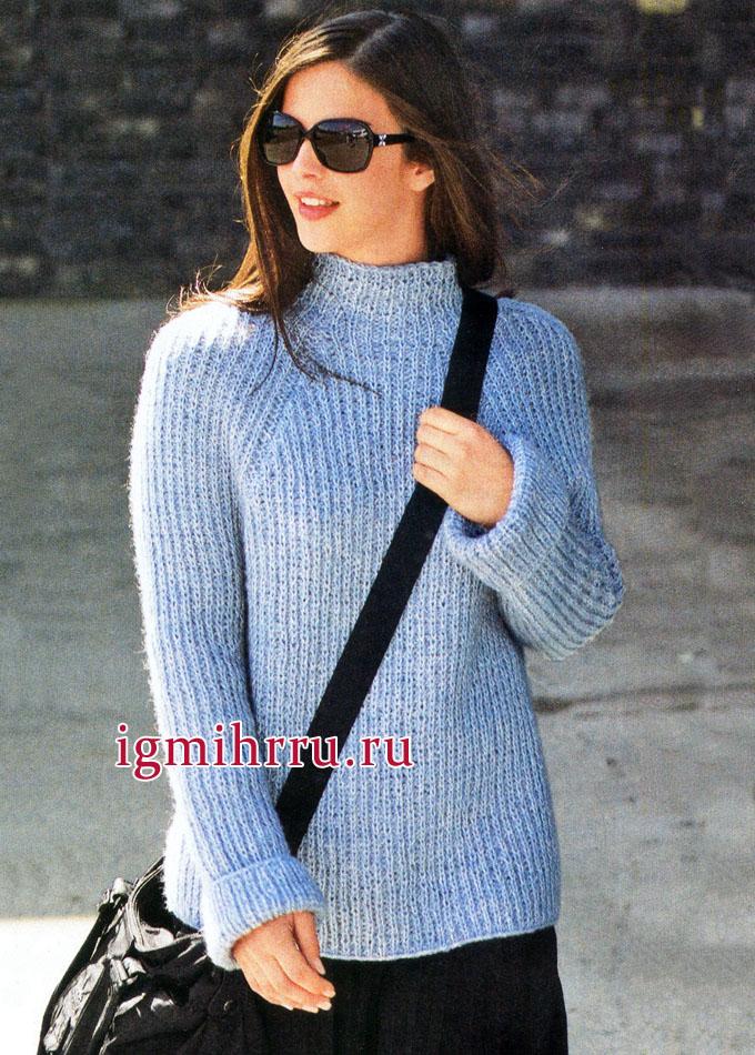 На каждый день. Голубой пуловер-реглан с полупатентным узором, от немецких дизайнеров. Вязание спицами