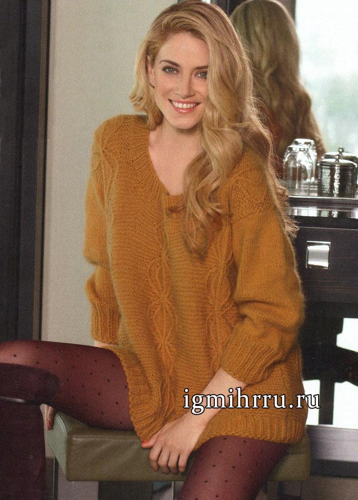 Теплый уютный пуловер коньячного цвета с замысловатым рельефным узором, от Verena. Вязание спицами