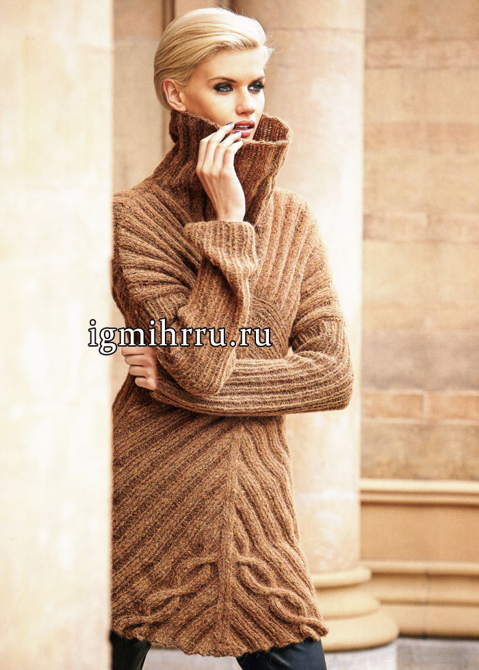 Удлиненный теплый пуловер коричневого цвета с косым узором, от немецких дизайнеров. Вязание спицами