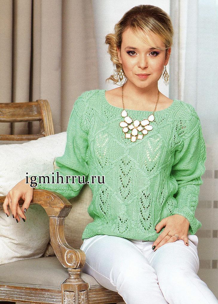 Пуловер цвета мяты с ажурными узорами. Вязание спицами