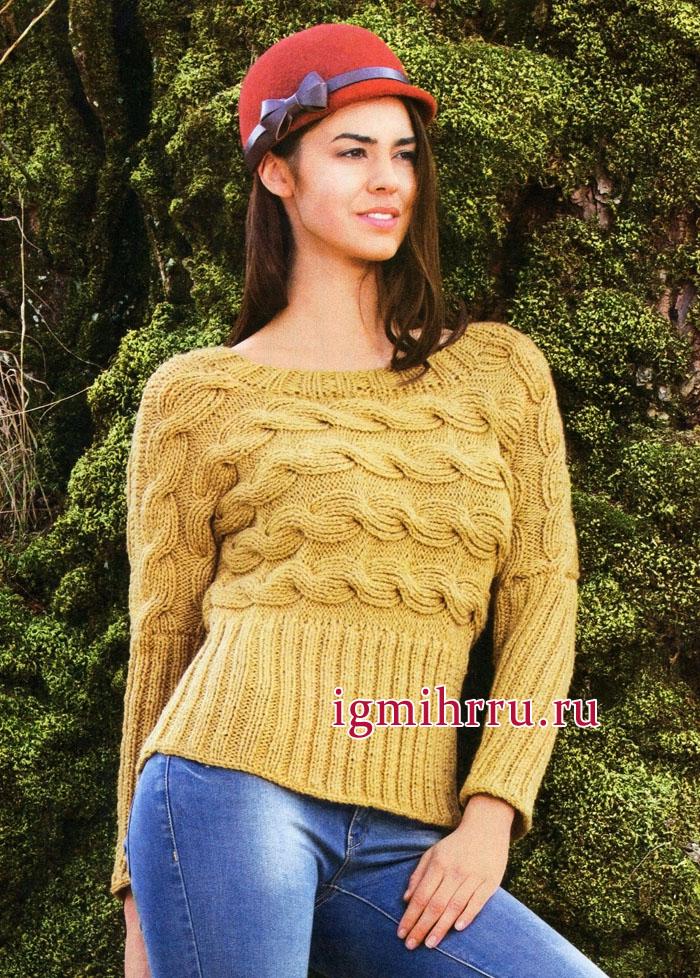 Желтый шерстяной пуловер с косами, связанный поперек, от немецких дизайнеров. Вязание спицами