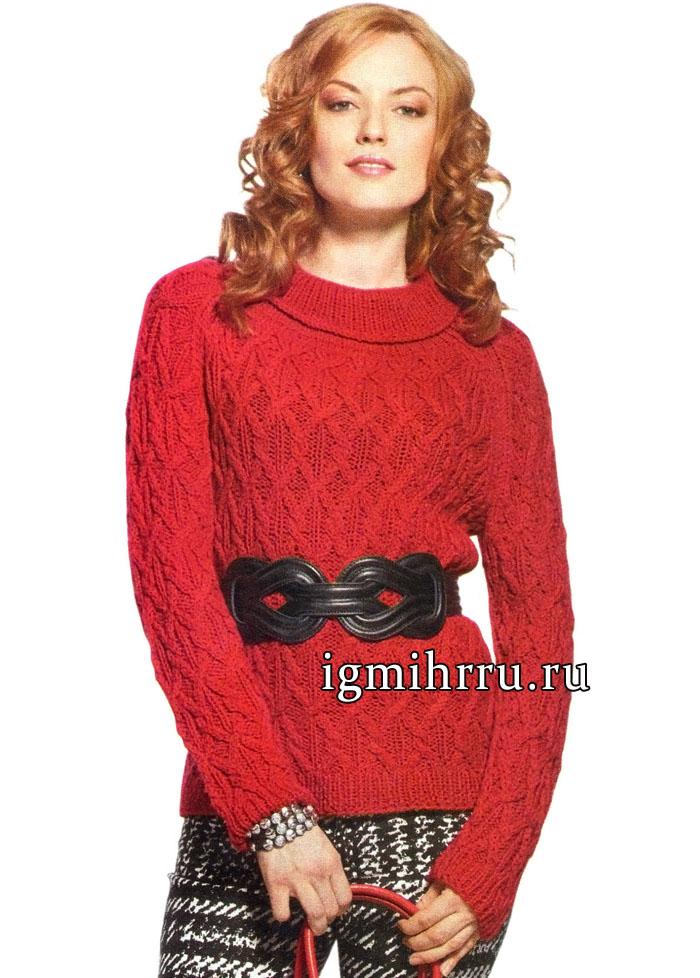 Красный пуловер-реглан с «косами» и свободным воротником, от немецких дизайнеров. Вязание спицами
