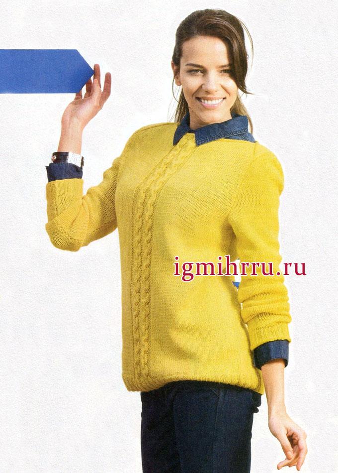 Желтый пуловер с косами, из мериносовой шерсти с шелком, от немецких дизайнеров. Вязание спицами
