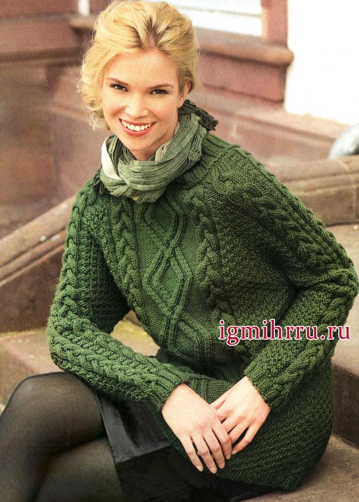 Микс выразительных узоров. Зеленый пуловер из мериносовой шерсти, от немецких дизайнеров. Вязание спицами