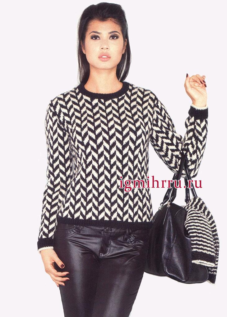 Элегантный кремово-черный пуловер из мериносовой шерсти, в елочку, от французских дизайнеров. Вязание спицами