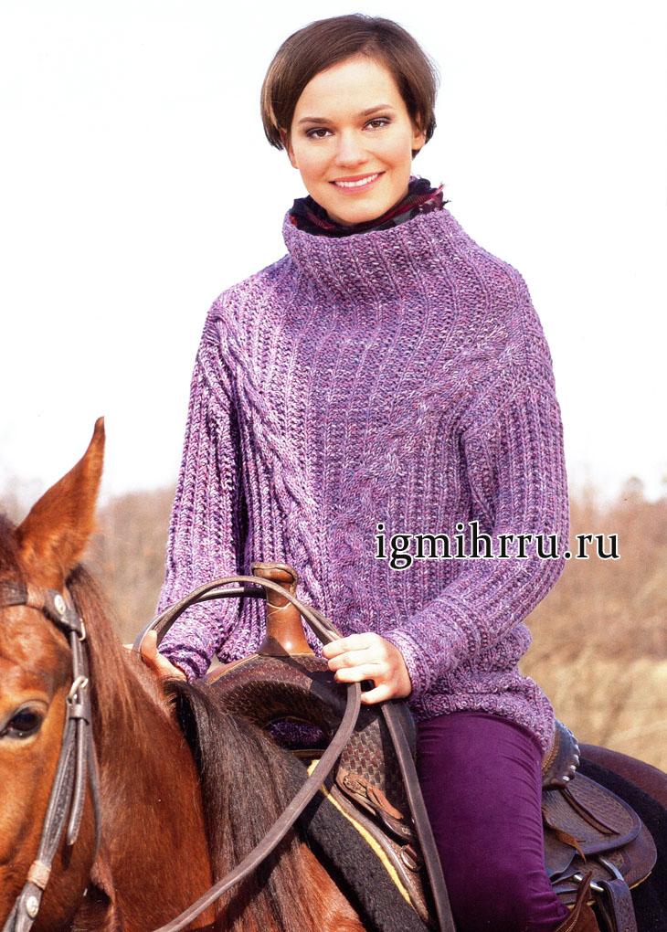 Сиреневый пуловер с V-образной кокеткой и косами, от немецких дизайнеров. Вязание спицами